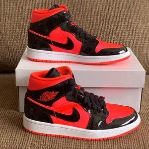 Air Jordan 1 Mid Hot Punch Black
